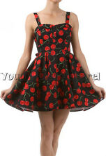 BEAUTIFUL DARLING BLACK WITH CHERRIES DRESS PINUP MODCLOTH STYLE VINTAGE RETRO