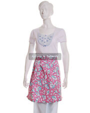 Women Ladies Half Aprons 1 Size Floral Print in Pink/ Royal Blue/ Aqua/ NavyBlue