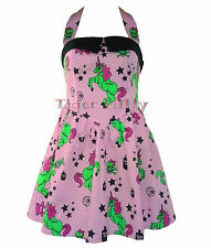 HELL BUNNY I HEART ZOMBIE MINI unicorn DRESS PINK SIZE 8-16