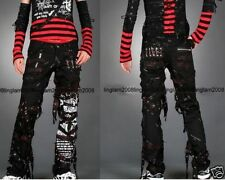 UNISEX INDUSTRIAL EMO BONDAGE Punk Rock visual KEI PANTS+Bag Trousers Blk S~XXL