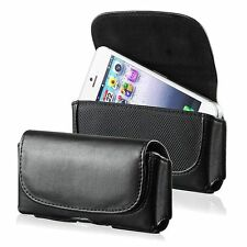 Luxury Universal Leather Black Flip Case w/Clip For Cellphone Mobile Phone