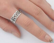 Braids Band Rings Sterling Silver 925 Mens Plain Jewelry Gift Size Selectable