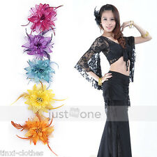 Women Belly Dance Tribal Party Wedding Feather Hair Head Flower Pin Brooch Clip