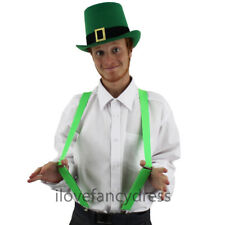 IRISH FANCY DRESS GREEN BUCKLE TOP HAT OPTIONAL BRACES ST PATRICKS LEPRECHAUN