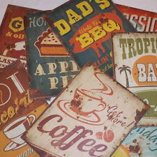 Vintage Style Retro Distressed Wooden Signs Plaques Coffee BBQ Holiday Garage