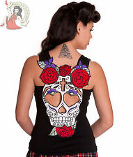 HELL BUNNY SUGARSKULL day of the dead VEST TOP t-shirt BLACK