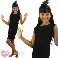 GIRLS BLACK FLAPPER DRESS AND HEADPIECE 1920'S FANCY DRESS CHARLESTON COSTUME