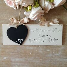 Personalised Wedding Engagement  Gift Countdown Chalkboard Bride And Groom Sign