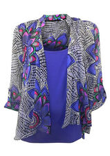 Marks & Spencer Lilac Print Chiffon Waterfall Blouse Over Stretchy Vest