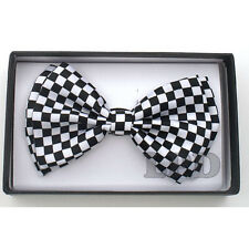 Tuxedo Adjustable Bowtie PreTied Black And White CHECKER BOARD Formal Bow Tie
