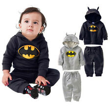 NEW Boys Baby Kids Fancy Batman Hooded Casual Sporty TOP + Pants Outfits Sets