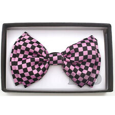 Tuxedo Black And Pink Bow Tie CHECKER BOARD Adjustable PreTied BowTie NEW IN BOX