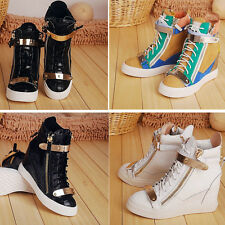 Womens Sneakers Lace Up Shoes Velcro High Top Ankle Wedge Boots Size US4.5-US9