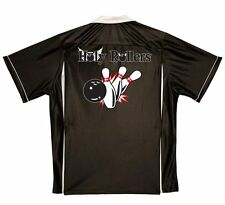 Join the HOLY ROLLERS-retro bowling shirt-Black/White CLASSIC-PRAY for STRIKE