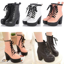 Womens Lace Up High Thick Heel Shoes Punk Gothic Biker Motorcycle Ankle Boots