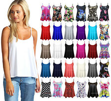 New Womens Ladies Cami Sleeveless Swing Vest Top Strappy Plain Flared Plus Size