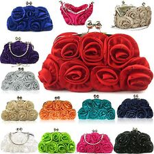 New Floral Ladies Clutch Bag Women Evening Party Prom Bridal Diamante Baguette