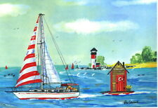 OUTHOUSE SAILOR ART PRINT Sailboat Sailing Boat Sail Yacht Ship Dinghy Gift for