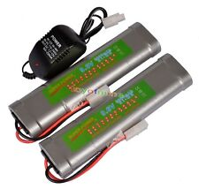 2x 9.6V NiMH 3800mAh Rechargeable Battery Pack Tamiya Plug + Charger