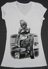 MARILYN MONROE V-Neck T-shirt Tattoo Graffiti Art Classic Car JUNIORS S-XL White