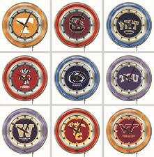 "Choose Your NCAA College P - Z Team 19"" Round Chrome Double Neon Ring Wall Clock"