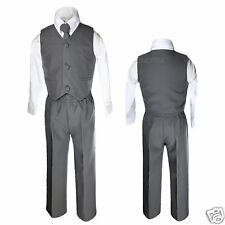 Baby Kid Toddler Boys Wedding 4pc Vest Set Suits Dark Gray Grey Silver Sz: S-14