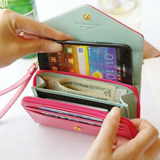 7x4inch Leather Case Envelope Zipper Wallet Purse For Samsung Galaxy Note 2/3