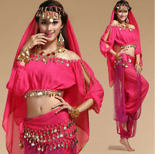 New Womens Sexy Long Sleeve Sequined Belly Dancewear Costume Indian Dance Dress