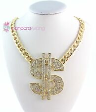 New Arrival Gold Tone Rhinestone Big Dollar Sign Pendant Necklace For Women