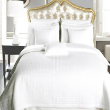 Luxury Wrinkle Free White Coverlet, Checkered 100% Microfiber Bedspread Set