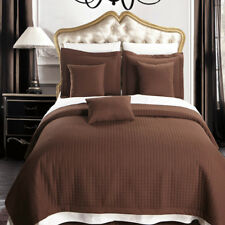 Chocolate Luxury Checkered Bedspread Quilted Set, Wrinkle Free 100% Microfiber