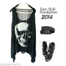 Sinful Theme Summer Sexy Skull Sleeveless T-shirt Biker Women Tank Black White