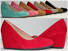 Brand New Women's Round Toe Fashion High Heel Wedge Pumps Fast Free Shipping