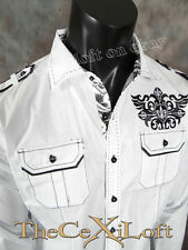 Mens VICTORIOUS Shirt Fleur Crest in White Button Down ROAR with Class