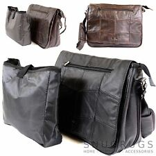 Large Leather Messenger Laptop School Work Bag with Padded Shoulder Strap
