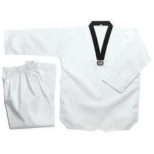 Taekwondo White Color Ribbed Uniform 7.5Oz Adult and Kids WTF