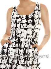 Folter Black And White Famous Faces Dress Extinct Collection Mod Retro 50's 60's