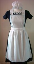 LADIES APRON & MOP CAP ONLY blue lace Victorian Edwardian Alice fancy dress set