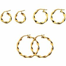 Pair of ITALIAN 9ct Gold 925 Silver Bonded Twist Creole Earrings 16mm 21mm 31mm