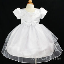 Flower Girls Wedding Christening Baby Embroidery Dress NEW WHITE 3 months ~3 yrs