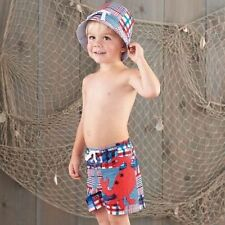 Mud Pie Boathouse Baby Toddler Boy Madras Crab 4th of July Swim Trunks 1022101