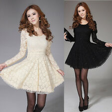 Womens Long Sleeve Crew Neck Cocktail Party Formal Lace Slim Mini Dress Fashion