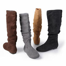 Brinley Co Womens Slouchy Microsuede Boots