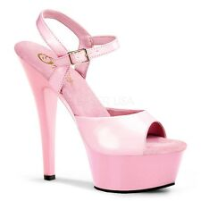 """PLEASER KISS209/BP/M Sexy Platform Baby Pink 6"""" Heels Ankle Strap Stiletto Shoes"""