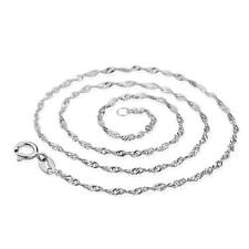 Solid 925 Sterling Silver Singapore Twist Wave Chain Necklace Italy 1.5mm ALL SZ