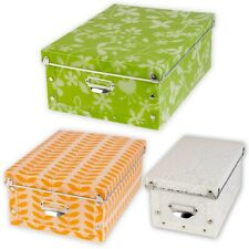 Plastic Collapsible Patterned Storage Boxes Containers With Lid Junk Bits & Bobs