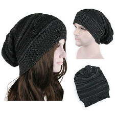 Hot Unisex Winter Warm Plicate Baggy Beanie Knit Crochet Ski Hat Oversized Cap