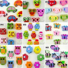 20/100pcs mixed cartoon wood beads/flatback.button lots craft/kids embellish DIY