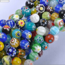 Top Quality Mixed Round MILLEFIORI Glass BEADS  Choose 4MM 6MM 8MM 10MM 12MM