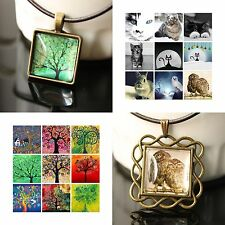 CUSTOMIZED Copper Leather LOVE Memories Tree of Life OWL Frame Pendant Necklace
